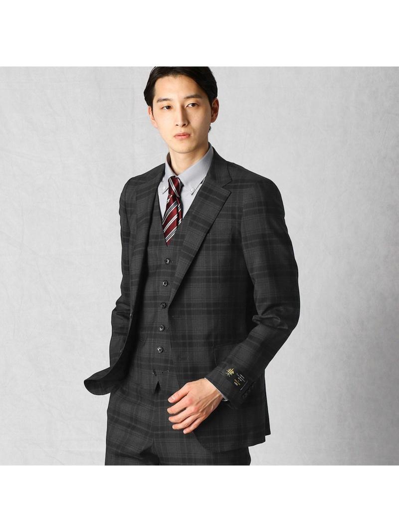 COMME CA MEN ILCONTEチェックセットアップジャケット コムサメン ビジネス/フォーマル セットアップスーツ グレー ネイビー【送料無料】