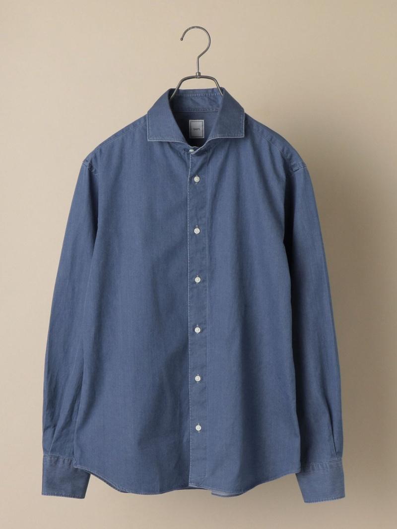 SHIPS SD:ウォッシュドデニムソリッドシャツ シップス シャツ/ブラウス 長袖シャツ ネイビー【送料無料】