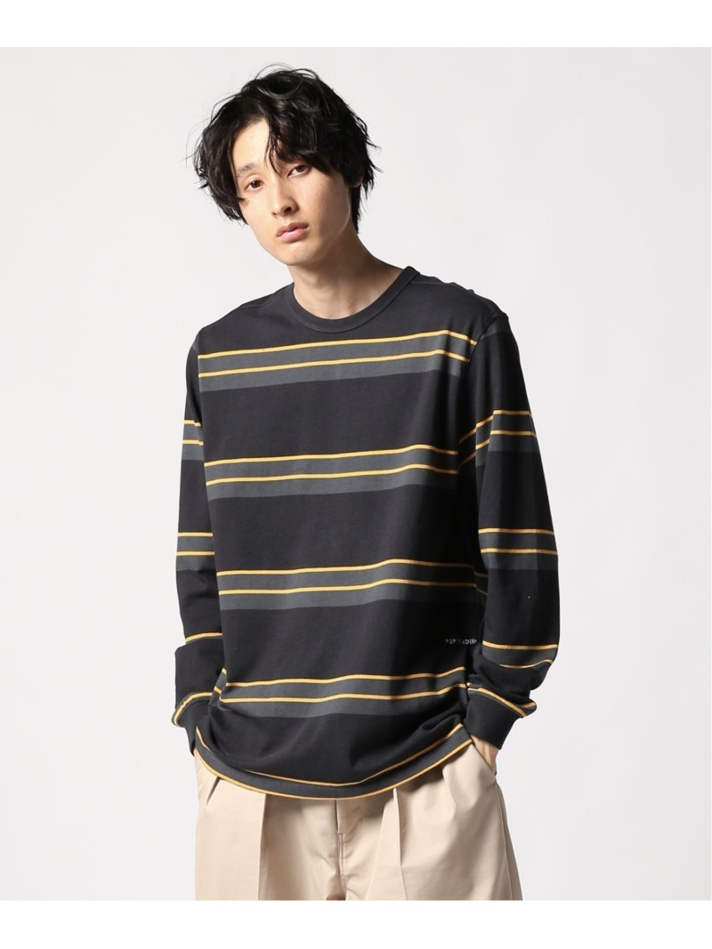 POP TRADING COMPANY POP TRADING COMPANY/striped longsleeve ジャーナル スタンダード レリューム カットソー Tシャツ グレー【送料無料】