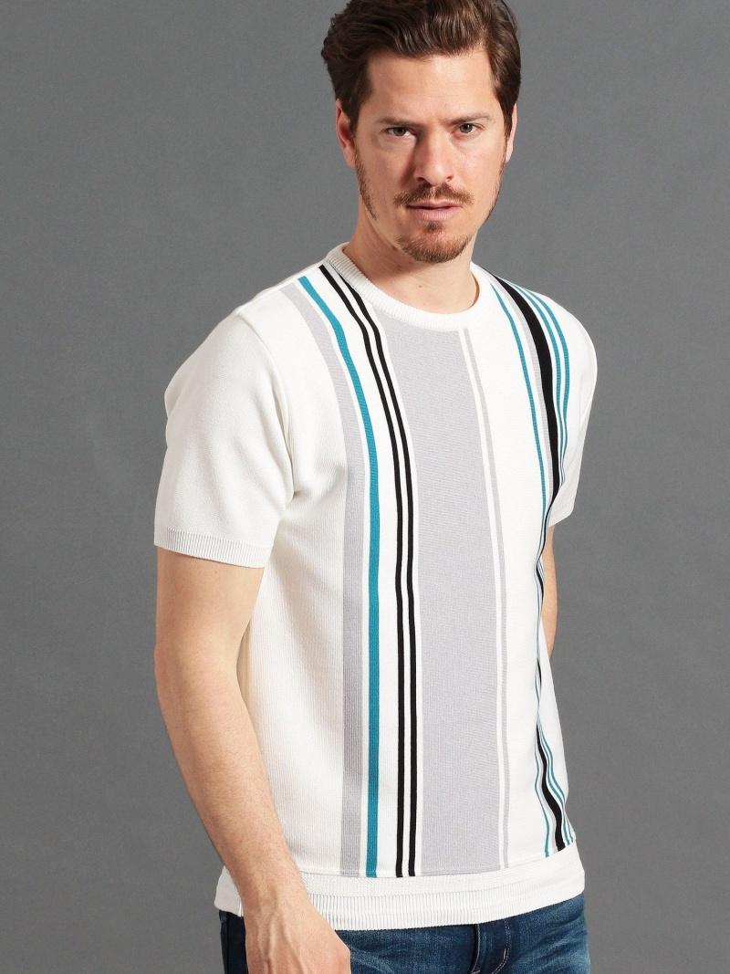 MONSIEUR NICOLE ストライプミラノリブニットTシャツ ニコル ニット ニットその他 ホワイト ブルー【送料無料】