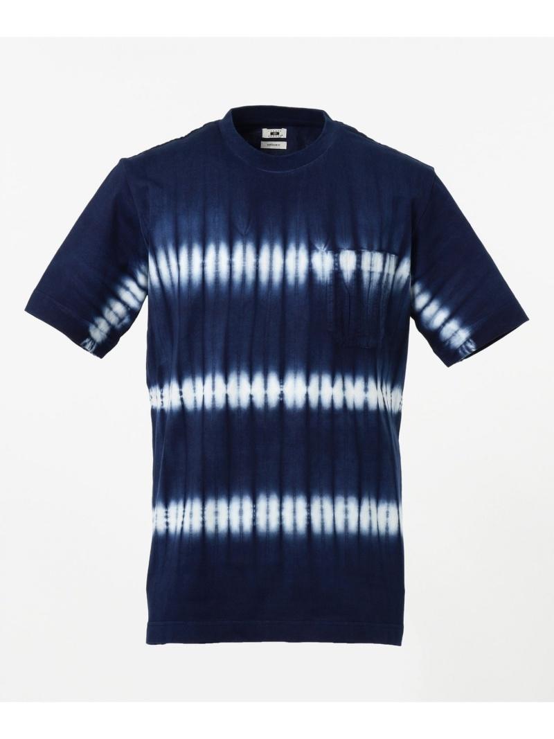 JOSEPH ABBOUD 【日本製・琉球藍染め】藍染絞りTシャツ ジョセフアブード カットソー Tシャツ ネイビー【送料無料】