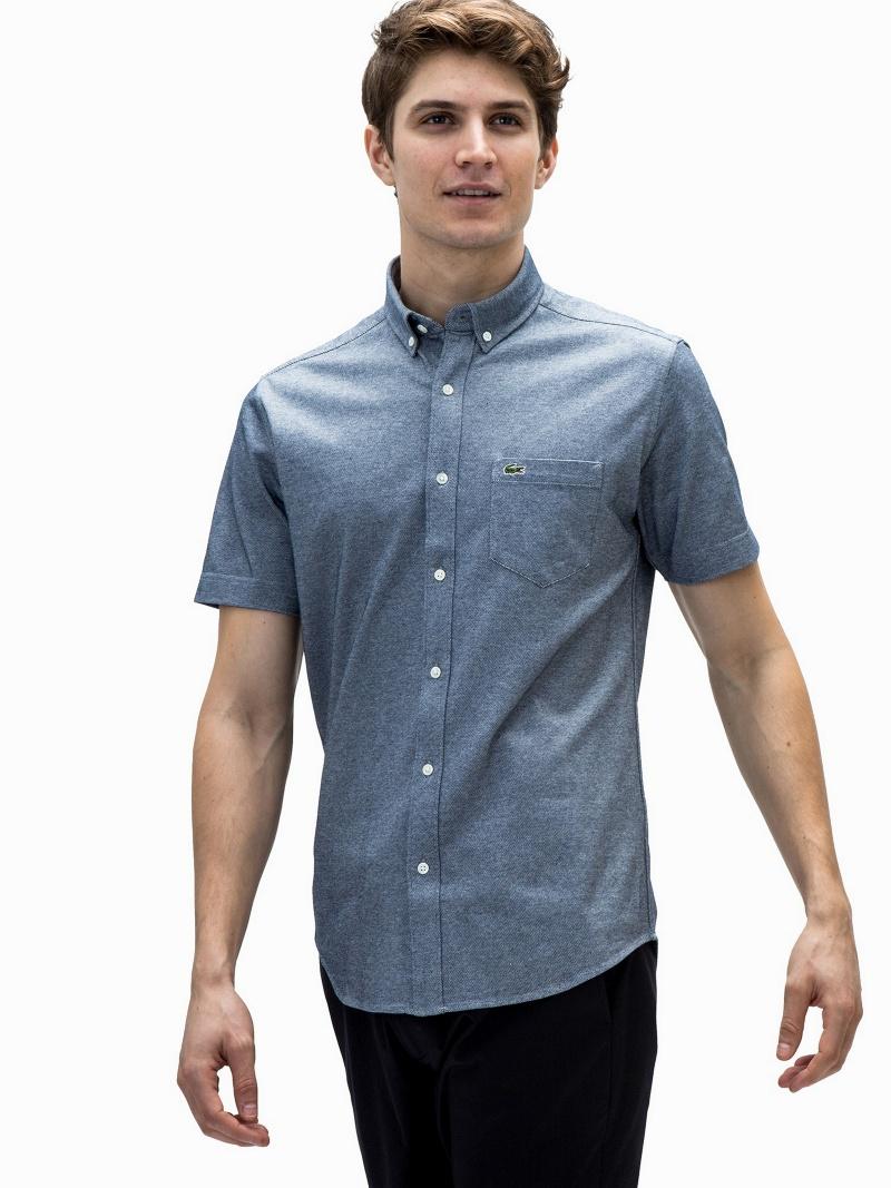LACOSTE (M)オックスフォードボタンダウンシャツ (半袖) ラコステ シャツ/ブラウス【送料無料】
