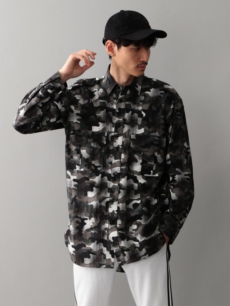 GUILD PRIME スターワッペンカモフラチェックシャツBIG ギルドプライム シャツ/ブラウス【送料無料】