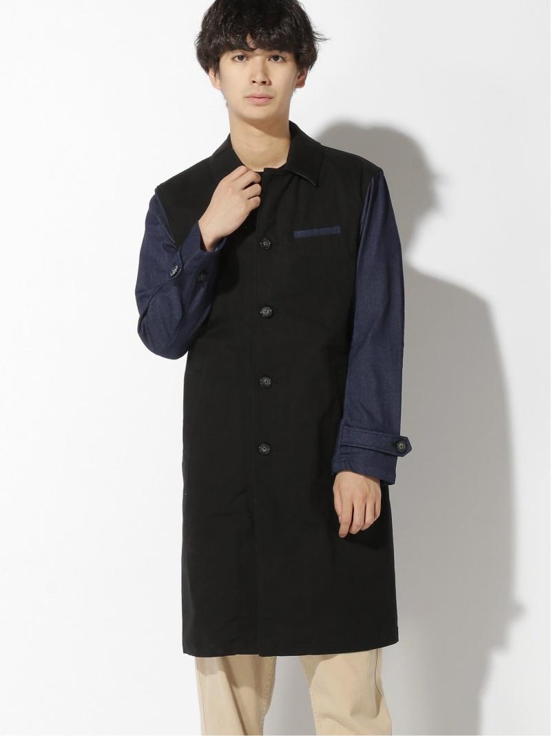 【SALE/50%OFF】LiSS Denim Sleeve Twill Coat ロッキーモンロー コート/ジャケット ステンカラーコート ブラック ベージュ【RBA_E】【送料無料】