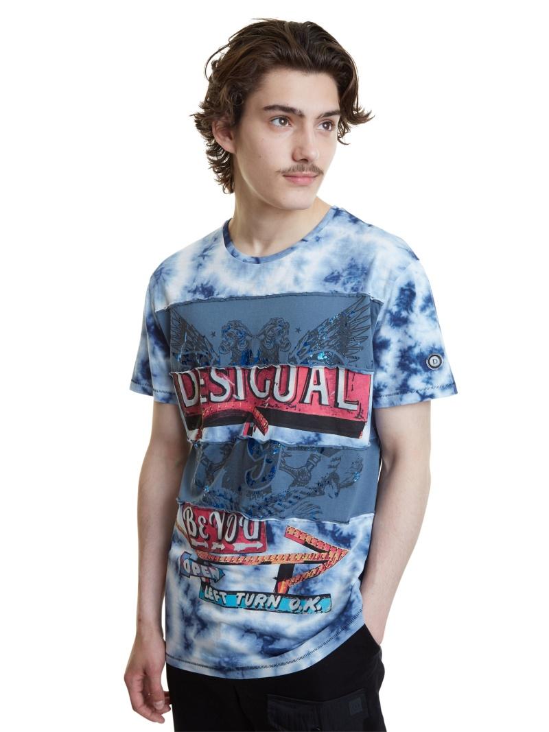 Desigual Tシャツ半袖 JUDE デシグアル カットソー Tシャツ ブルー【送料無料】