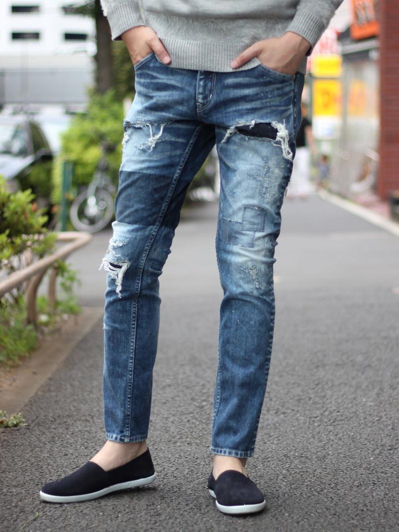 【SALE/30%OFF】RATTLE TRAP 別注distressed jeans (スリムストレート型) <別注セレクト> メンズ ビギ パンツ/ジーンズ【RBA_S】【RBA_E】【送料無料】