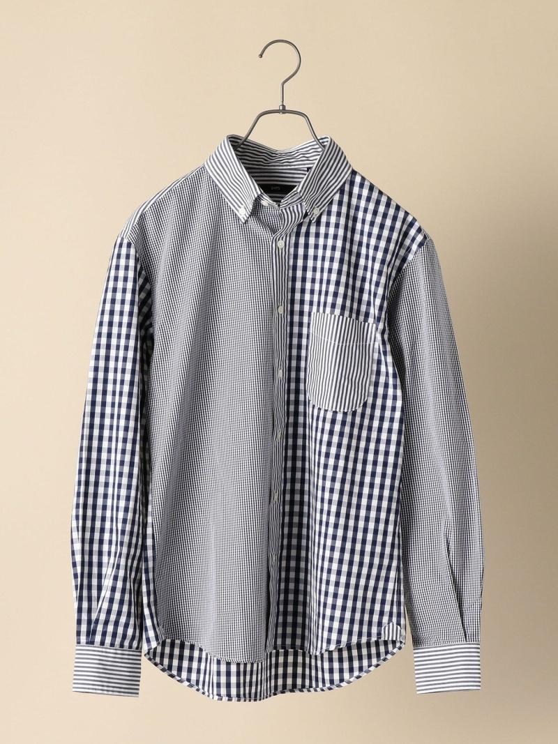 SHIPS SC: クレイジーパターン ボタンダウン シャツ シップス シャツ/ブラウス 長袖シャツ ネイビー ブルー レッド【先行予約】*【送料無料】