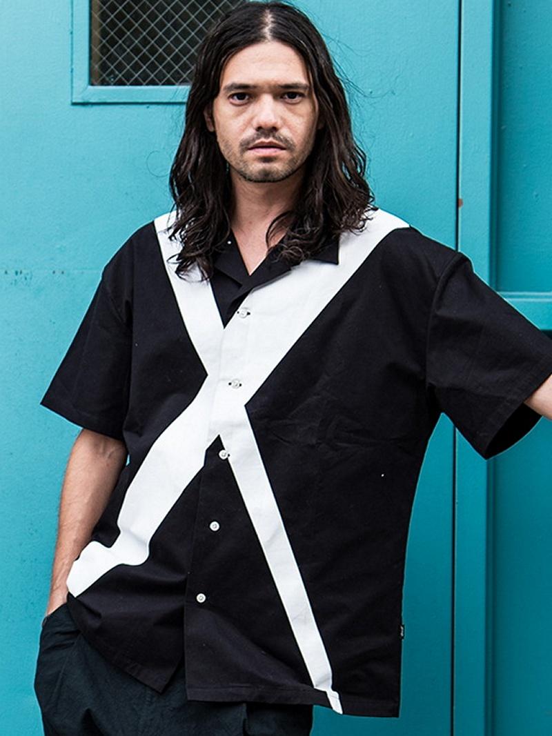 glamb Cross SH グラム シャツ/ブラウス 半袖シャツ ブラック ネイビー レッド ホワイト【送料無料】