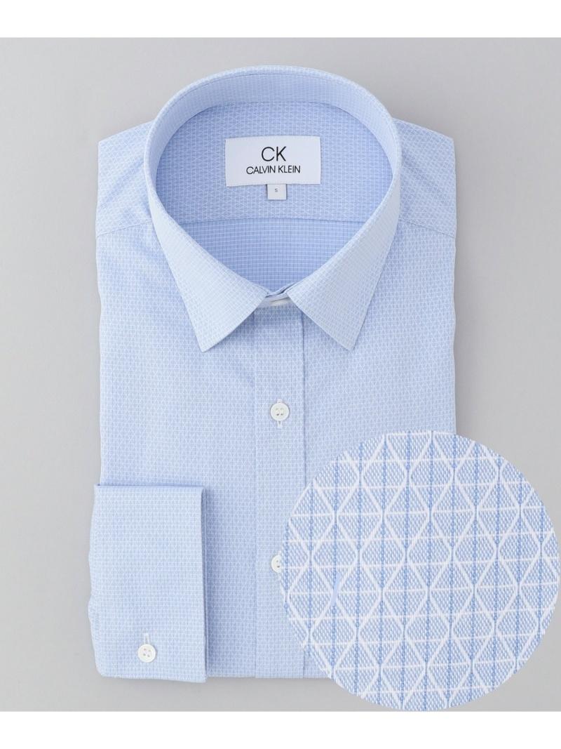 CK CALVIN KLEIN 【形態安定】グリッドダイヤドビー シャツ / レギュラーカラー CK カルバン・クライン シャツ/ブラウス ワイシャツ ブルー グレー【送料無料】