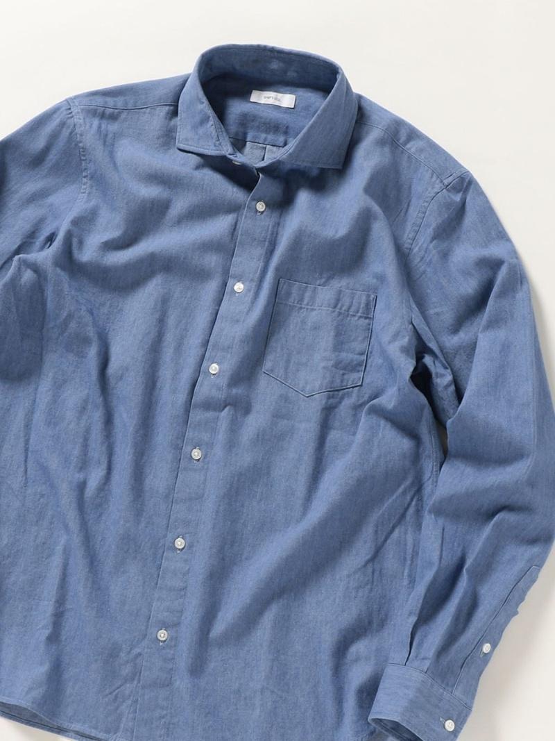 SHIPS any SHIPS any: デニム セミワイドカラー シャツ シップス シャツ/ブラウス 長袖シャツ ブルー【送料無料】