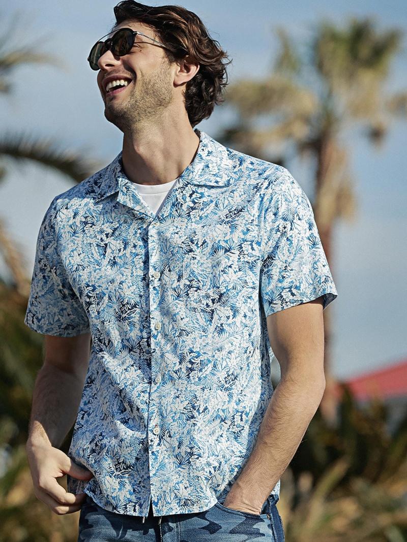 【JAPAN BLUE JEANS】フラワープリントオープンカラーコラボシャツ メンズ ビギ シャツ/ブラウス【送料無料】