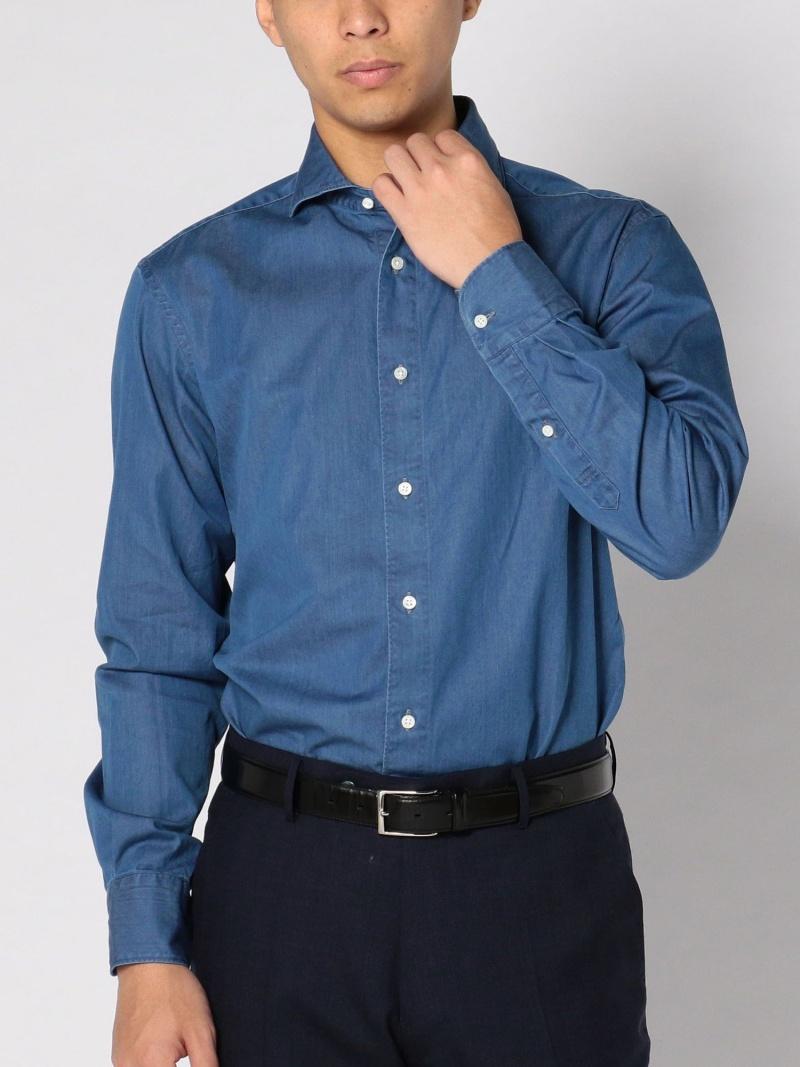 SHIPS SD:【ウォッシュド】インディゴソリッドシャンブレーホリゾンタルカラーシャツ シップス シャツ/ブラウス 長袖シャツ ネイビー【送料無料】