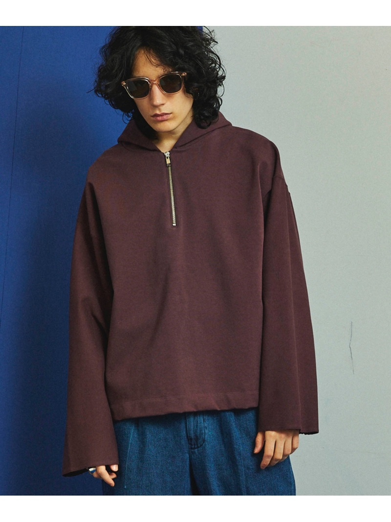 【SALE/40%OFF】MAISON SPECIAL CompactStretchTerry ハーフジップパーカー メゾンスペシャル カットソー パーカー レッド ブラック オレンジ【RBA_E】【送料無料】