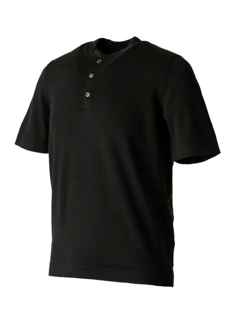 【SALE/40%OFF】Gran Sasso ソフトコットン ショートスリーブヘンリーネックニット ナノユニバース カットソー Tシャツ ブラック ブラウン ホワイト【RBA_E】【送料無料】