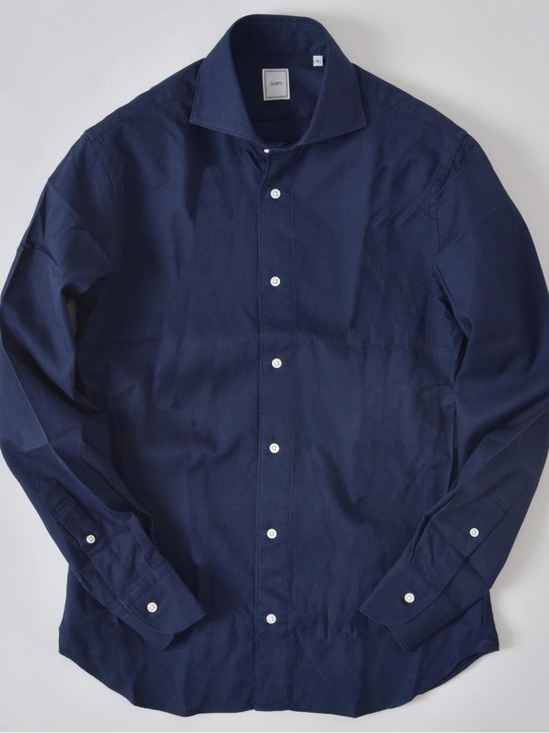 SHIPS SD:ウォッシュドワッフルソリッドシャツ シップス シャツ/ブラウス 長袖シャツ ネイビー ホワイト【送料無料】