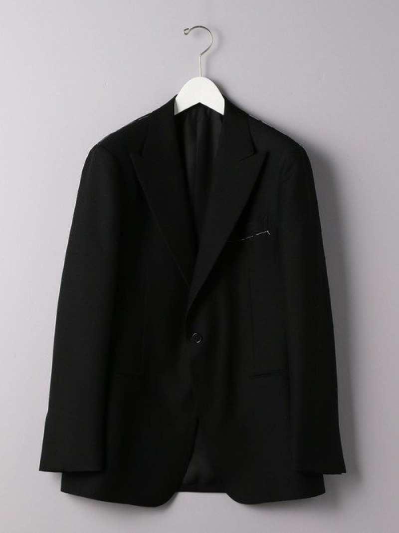 UNITED ARROWS <UNITEDARROWS>ブラックピークドラペル1Bジャケット ユナイテッドアローズ コート/ジャケット テーラードジャケット ブラック【送料無料】