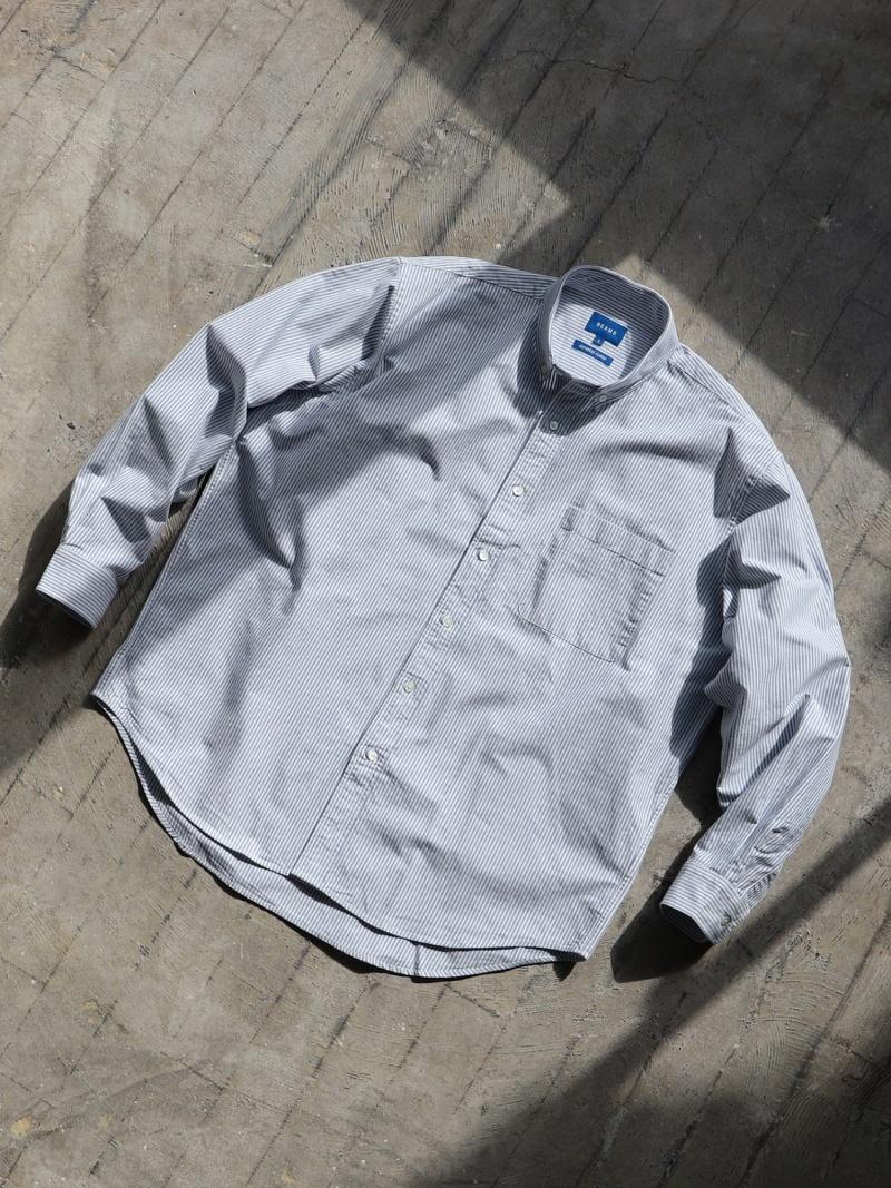 BEAMS MEN BEAMS / ヘビーオックス イージー ボタンダウンシャツ ビームス メン シャツ/ブラウス 長袖シャツ ブルー ホワイト【送料無料】