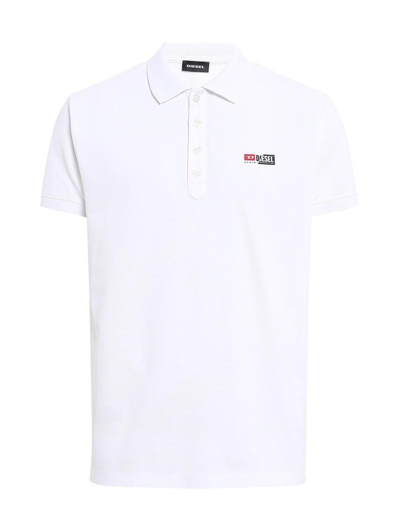 DIESEL T-WEET-SPLIT ディーゼル カットソー ポロシャツ ホワイト ブラック【送料無料】