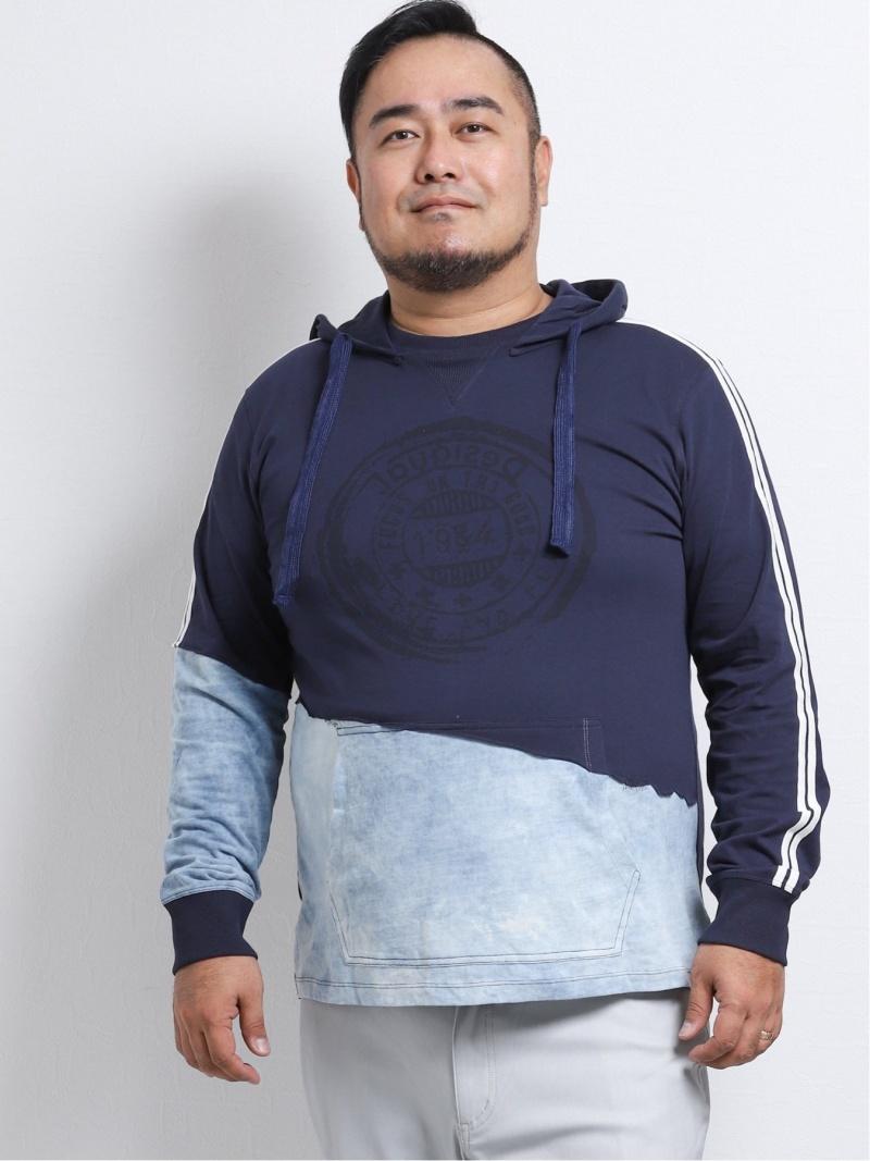 GRAND-BACK 【大きいサイズ】デシグアル/Desigual フード付きハイブリッド長袖Tシャツ タカキュー カットソー パーカー ネイビー【送料無料】