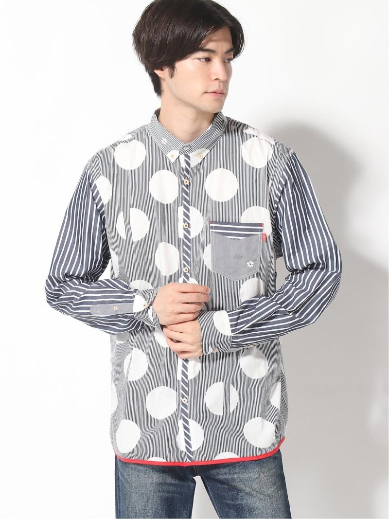 河谷シャツ (U)ルイス カワタニシャツ シャツ/ブラウス 長袖シャツ ネイビー ブラウン【送料無料】