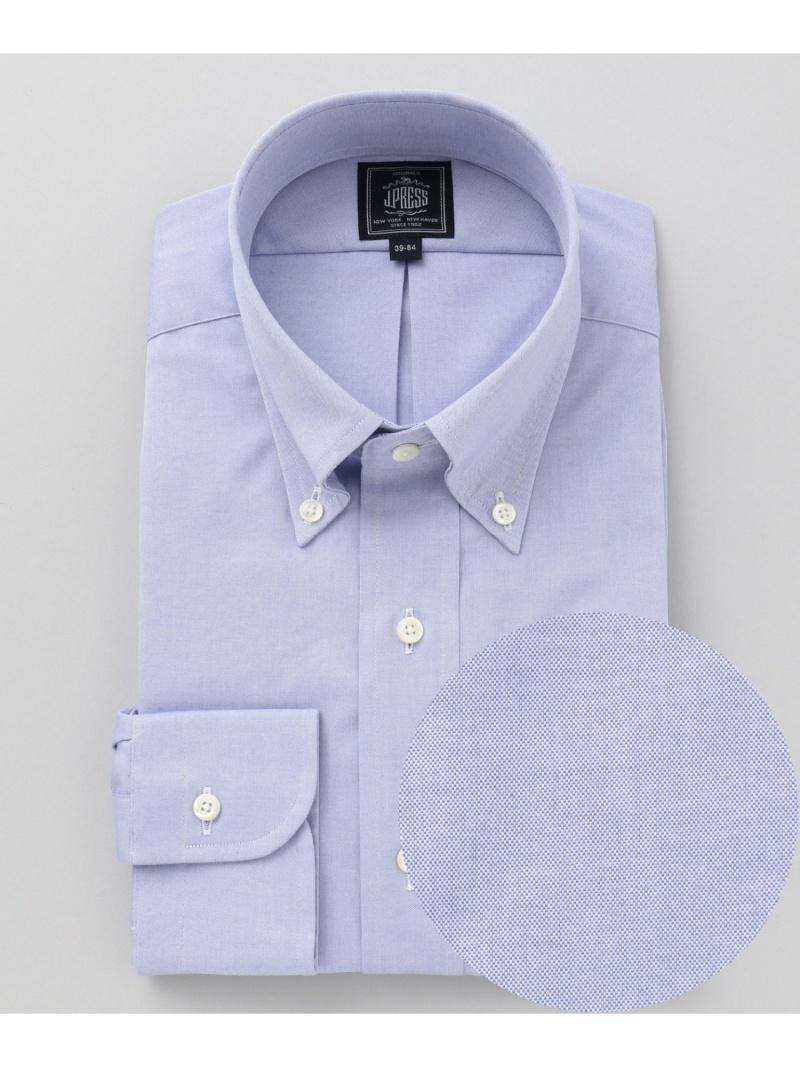 J.PRESS 【形態安定】PREMIUMPLEATS/ピンオックスボタンダウンシャツ ジェイプレス シャツ/ブラウス ワイシャツ ブルー ホワイト【送料無料】