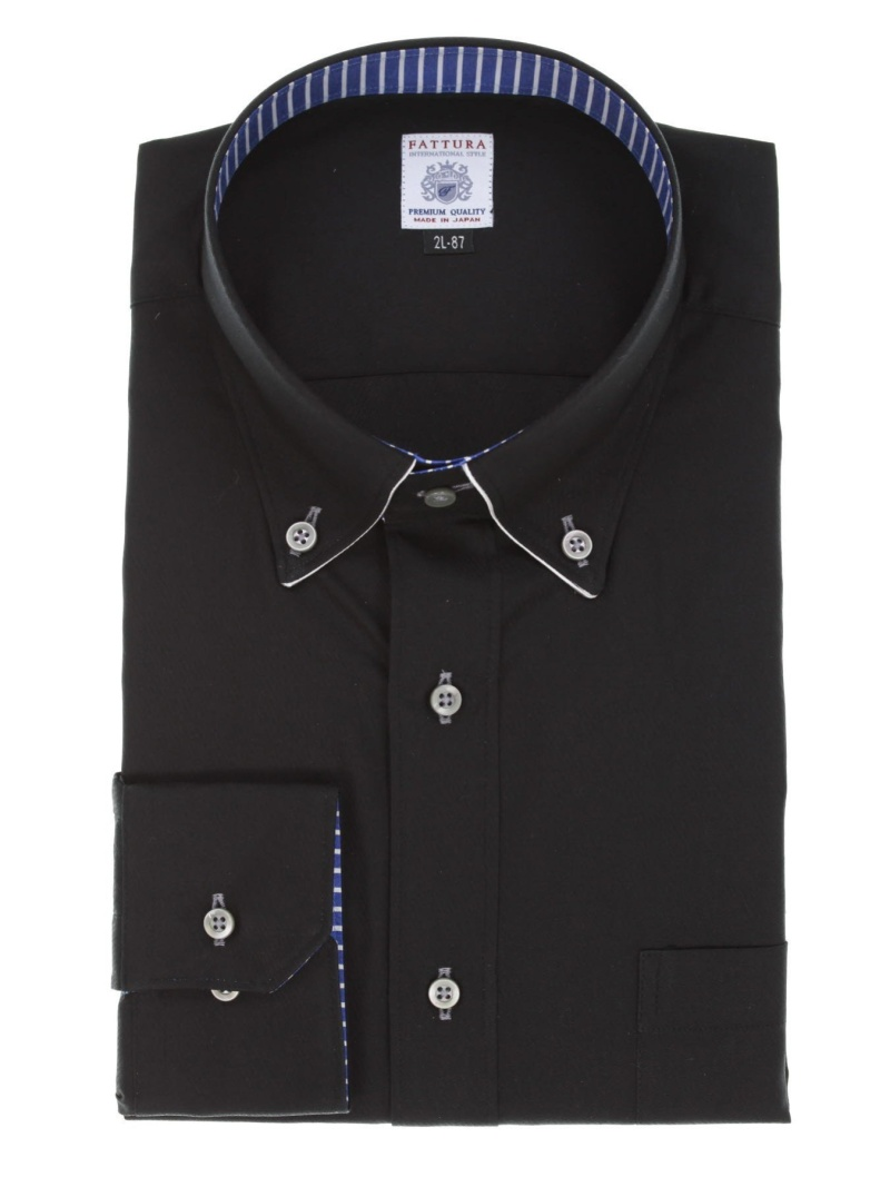 GRAND-BACK 【大きいサイズ】ファットゥーラ/FATTURA 綿100日本製ボタンダウン長袖シャツ タカキュー シャツ/ブラウス ワイシャツ ブラック【送料無料】