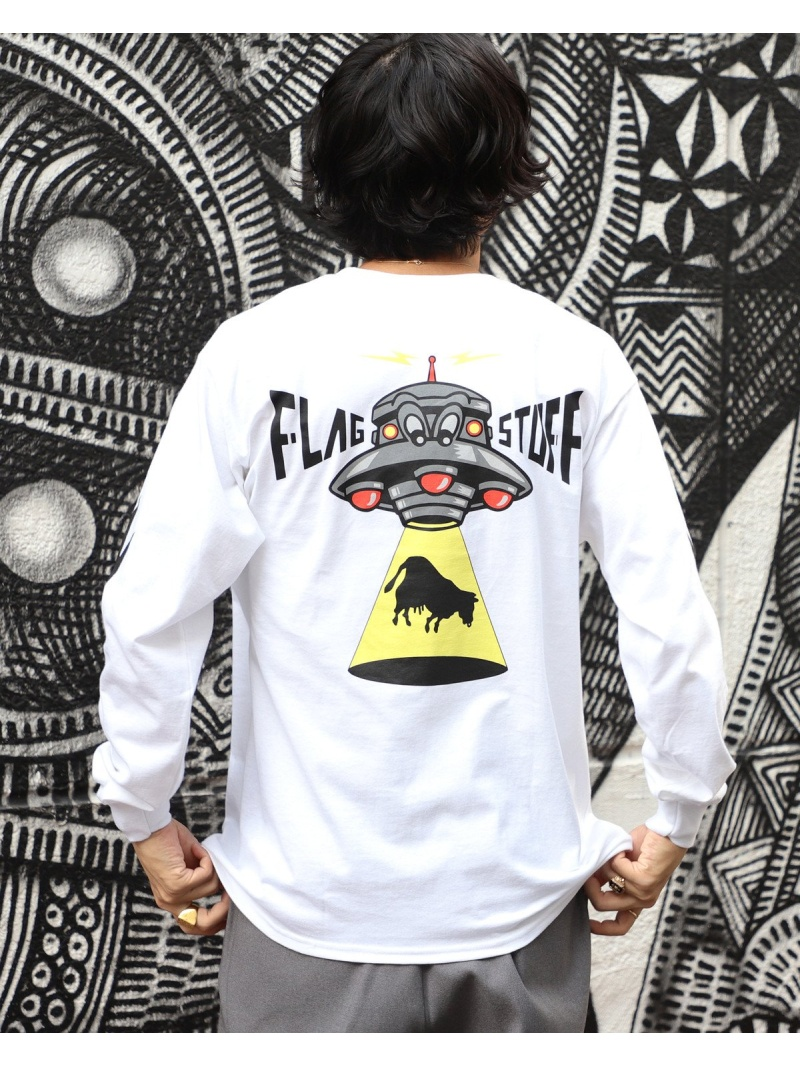 BEAMS T F-LAGSTUF-F / UFO ロングスリーブ Tシャツ ビームスT カットソー Tシャツ ホワイト【送料無料】
