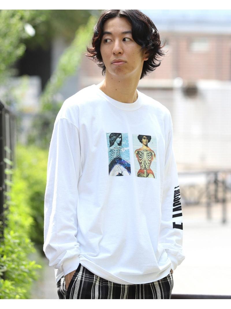 BEAMS T F-LAGSTUF-F / Distorted ロングスリーブ Tシャツ ビームスT カットソー Tシャツ ホワイト【送料無料】