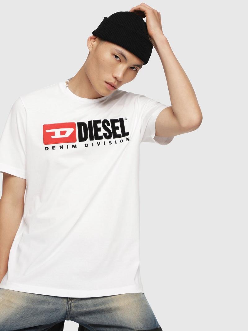 DIESEL T-JUST-DIVISION ディーゼル カットソー Tシャツ ホワイト ブラック ブルー パープル イエロー【送料無料】
