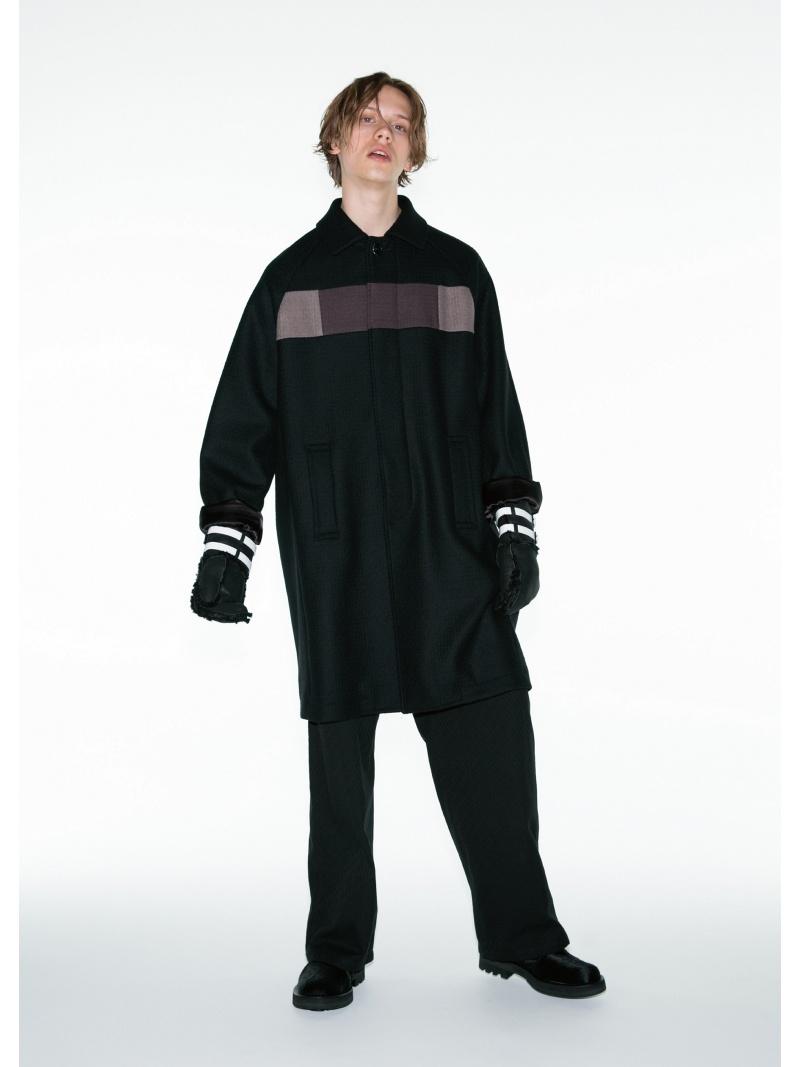 SHAREEF CASHMERE MELTON SOUTIEN COLLAR COAT シャリーフ コート/ジャケット ハーフコート ブラック【送料無料】
