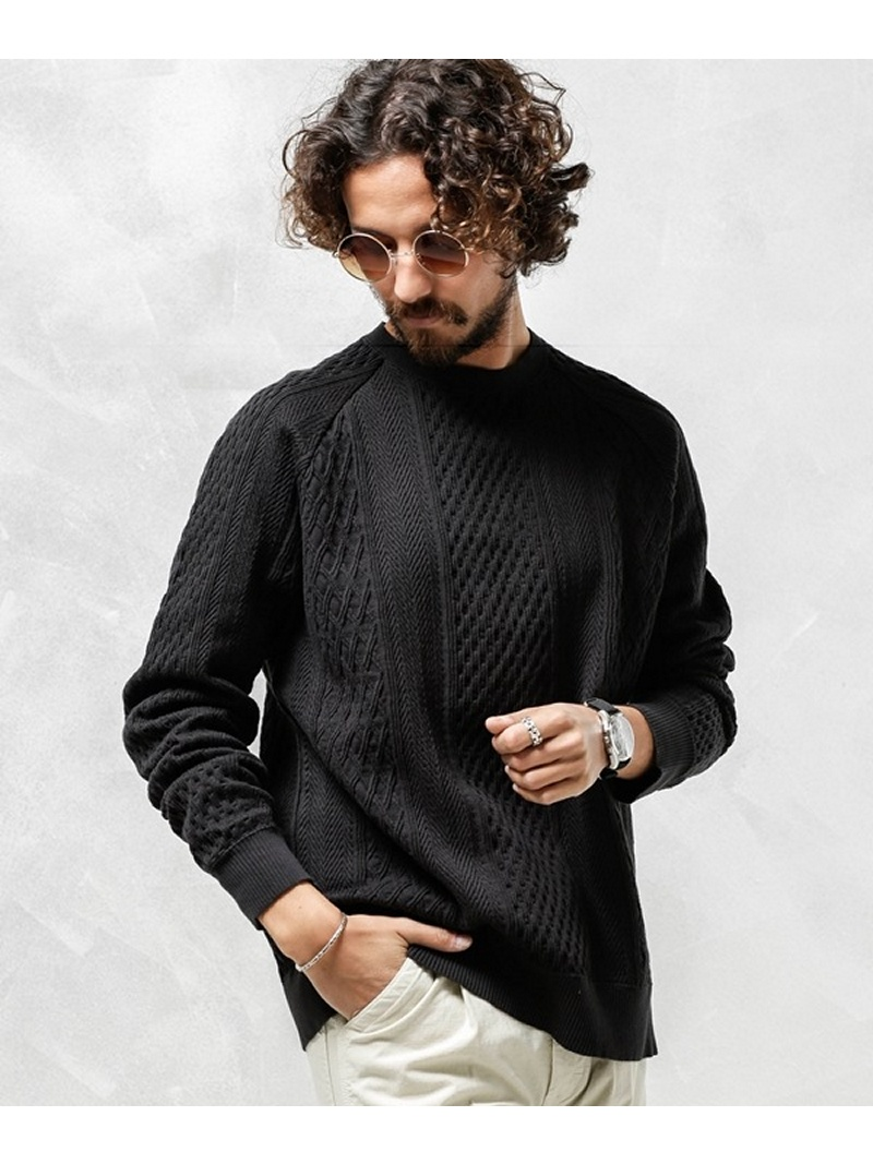 CAL O LINE 別注CABLE CREW-NECK SWEAT ナノユニバース カットソー【先行予約】*【送料無料】