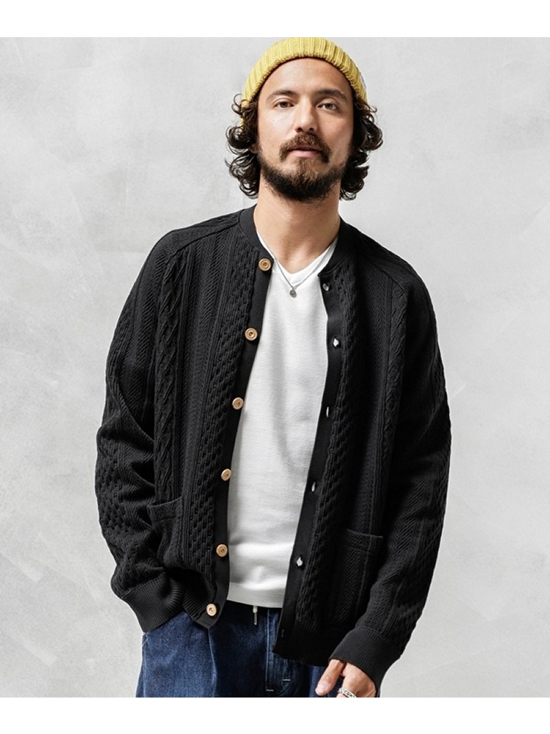 CAL O LINE 別注CABLE CARDIGAN ナノユニバース カットソー【先行予約】*【送料無料】