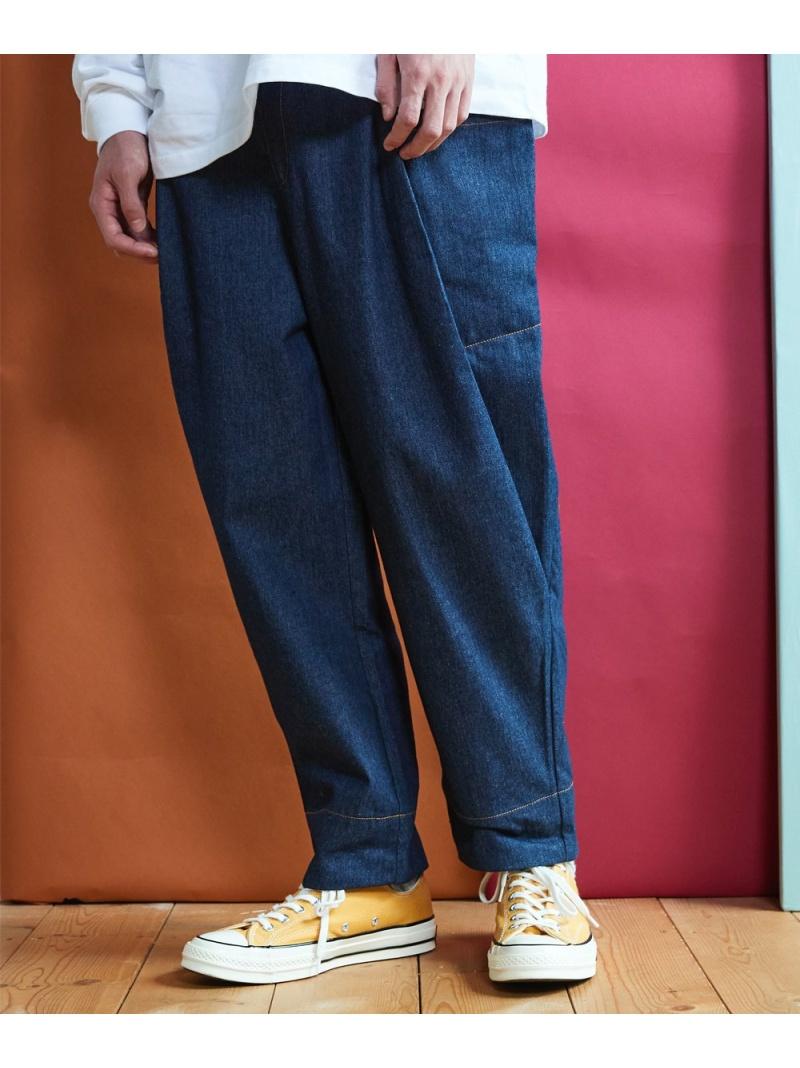 rehacer Bulky Wide Denim Pants レアセル パンツ/ジーンズ ワイド/バギーパンツ ネイビー ブルー【送料無料】