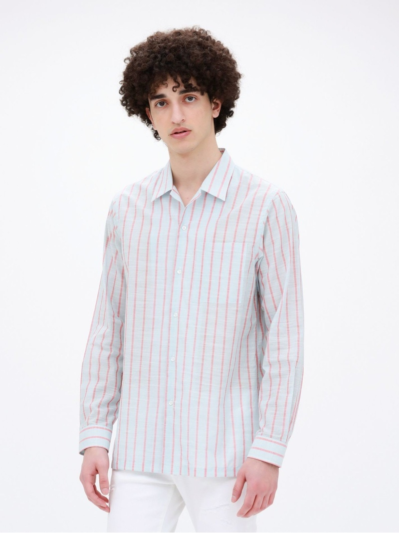 【SALE/35%OFF】LOVELESS Safariストライプオープンカラーシャツ ラブレス シャツ/ブラウス 長袖シャツ ブルー ベージュ【RBA_E】【送料無料】