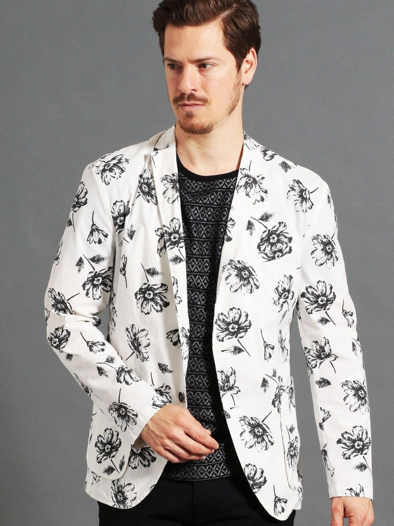 MONSIEUR NICOLE 別注フラワープリントテーラードジャケット ニコル コート/ジャケット テーラードジャケット ホワイト ブラック【送料無料】