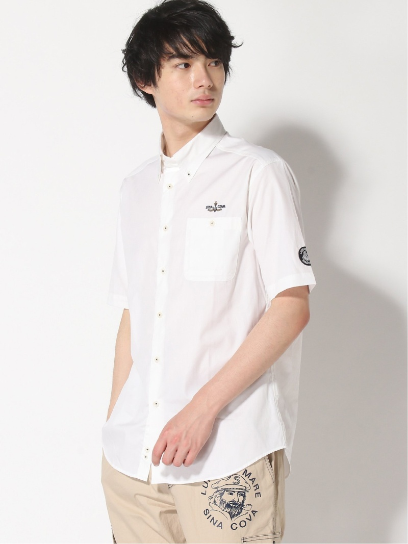 SINA COVA SINA COVA/(M)半袖ボタンダウンシャツ シナコバ シャツ/ブラウス 半袖シャツ ホワイト ネイビー【送料無料】