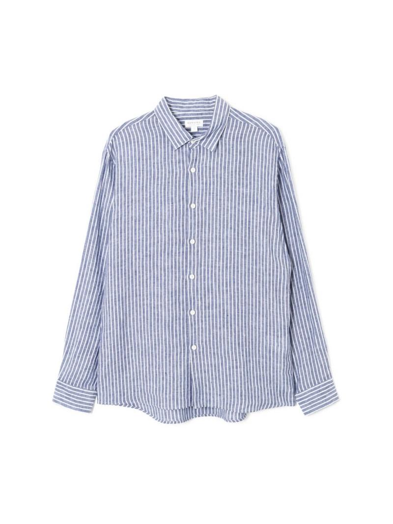 SUNSPEL MEN'SLINENSTRIPESHIRT サンスペル シャツ/ブラウス 長袖シャツ ブルー【送料無料】