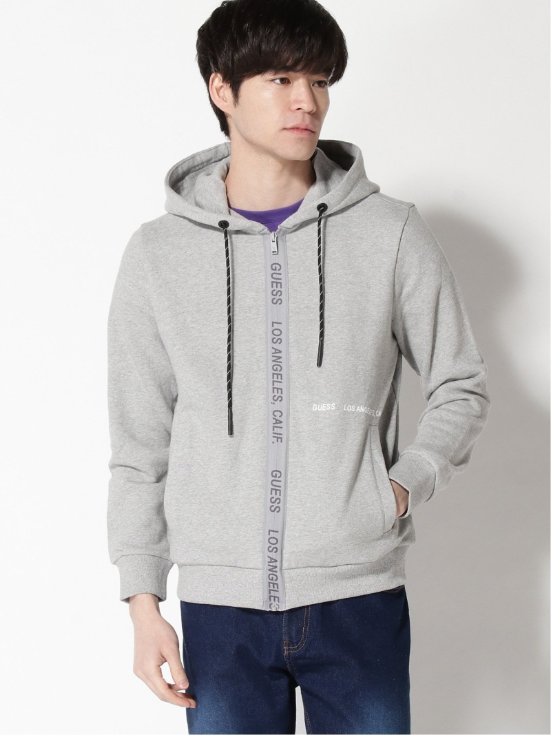 GUESS (M)LOGO HOODED ZIP UP PARKA ゲス カットソー パーカー グレー ブラック【送料無料】