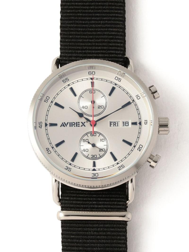 AVIREX クロノグラフウォッチナトーベルト/CHRONOGRAPHWATCHW/NATO アヴィレックス ファッショングッズ 腕時計 シルバー ブラック【送料無料】