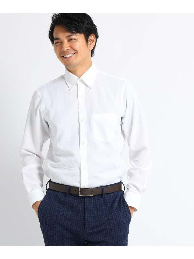 TAKEO KIKUCHI 【Sサイズ~】カラミ織りシャツ タケオキクチ シャツ/ブラウス シャツ/ブラウスその他 ホワイト パープル ブルー【送料無料】