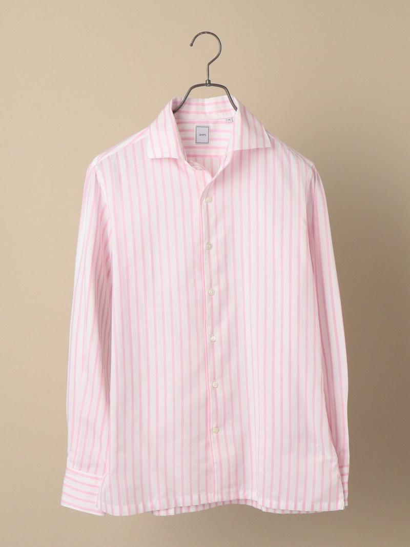 SHIPS SD:ウォシュトICECOTTON(R)ワンピースストライプピンクシャツ シップス シャツ/ブラウス 長袖シャツ ピンク【送料無料】