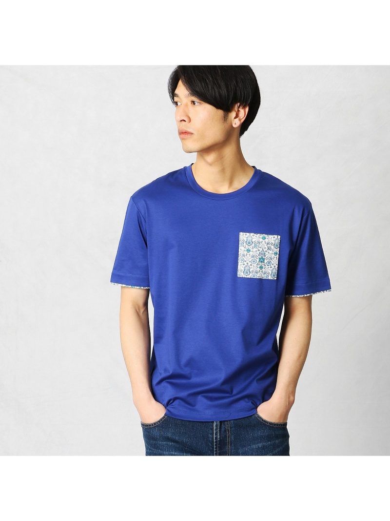 COMME CA MEN リバティポケット Tシャツ コムサメン カットソー【送料無料】