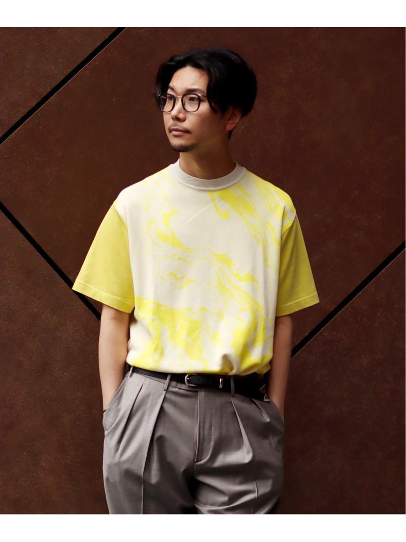 WKED WKED マーブルドッキングTEE エディフィス カットソー Tシャツ イエロー ブルー【送料無料】