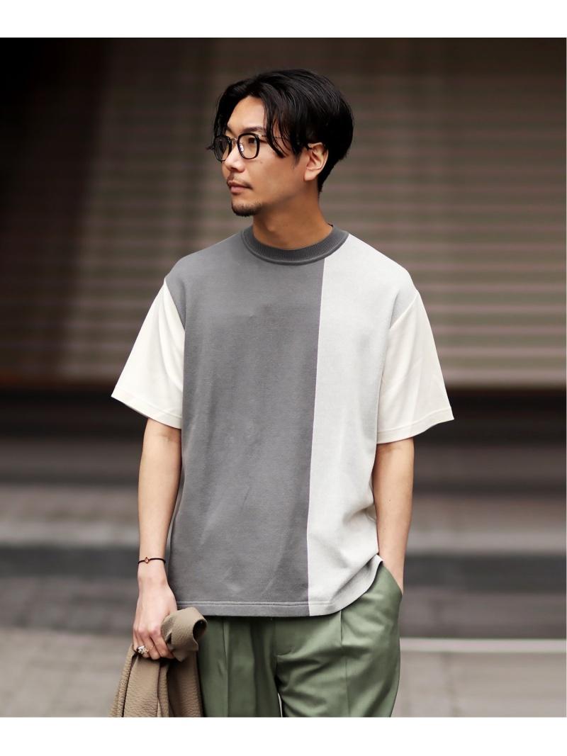 WKED WKED パネルドッキングTEE エディフィス カットソー Tシャツ グレー ネイビー【送料無料】