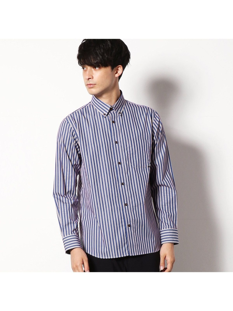 COMME CA COMMUNE ボタンダウンシャツ コムサイズム シャツ/ブラウス 長袖シャツ レッド ブルー【送料無料】
