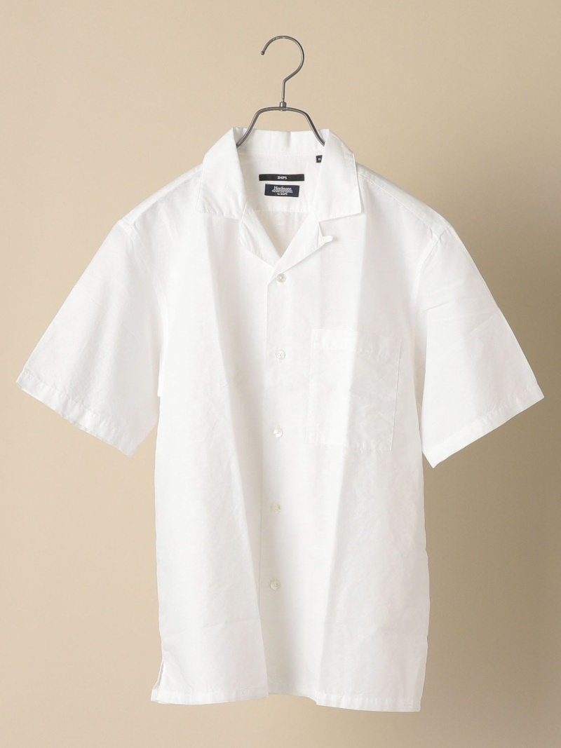 SHIPS SC: Herdmans コットン/リネン オープンカラー シャツ (無地) シップス シャツ/ブラウス 半袖シャツ ホワイト ネイビー【送料無料】