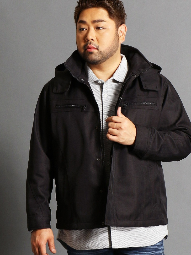 HIDEAWAYS(大きいサイズ) <大きいサイズ>ライナー付きヘリンボーンフードジャケット ニコル コート/ジャケット【送料無料】
