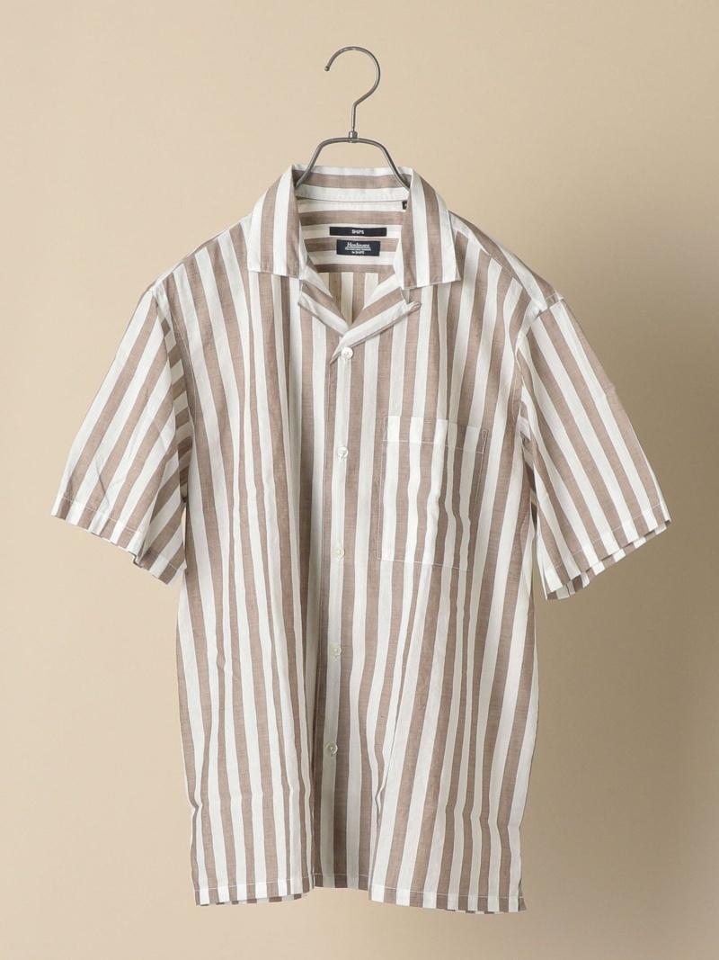 SHIPS SC: Herdmans コットン/リネン オープンカラー シャツ (ストライプ) シップス シャツ/ブラウス 半袖シャツ カーキ ブラウン ブルー【送料無料】
