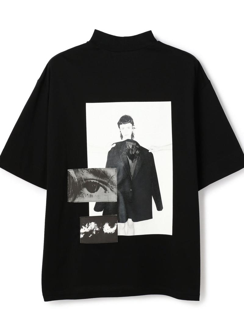 LHP th/ティーエイチ/PRINT RIB T-SHIRT エルエイチピー カットソー Tシャツ ブラック【送料無料】