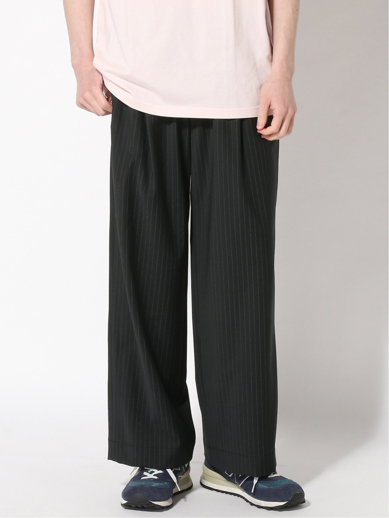 JOURNAL STANDARD NUMBERM Striped one-tack wide pants ジャーナル スタンダード パンツ/ジーンズ ワイド/バギーパンツ ブラック グレー【送料無料】